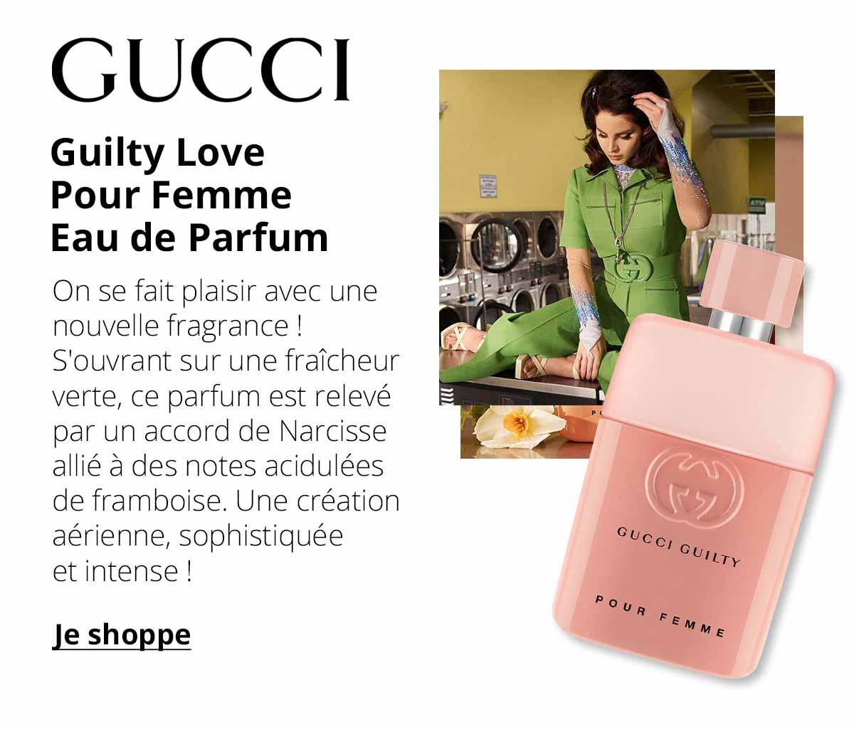Gucci - Guilty Love Pour Femme Eau de Parfum - On se fait plaisir avec une nouvelle fragrance ! S'ouvrant sur une fraîcheur verte, ce parfum est relevé par un accord de Narcisse allié à des notes acidulées de framboise. Une création aérienne, sophistiquée et intense !