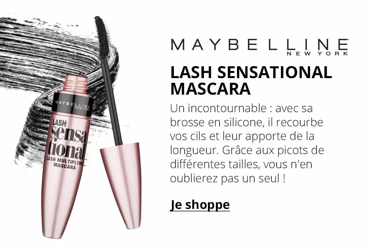 Maybelline New York - Lash Sensational Mascara - Un incontournable : avec sa brosse en silicone, il recourbe vos cils et leur apporte de la longueur. Grâce aux picots de différentes tailles, vous n'en oublierez pas un seul !