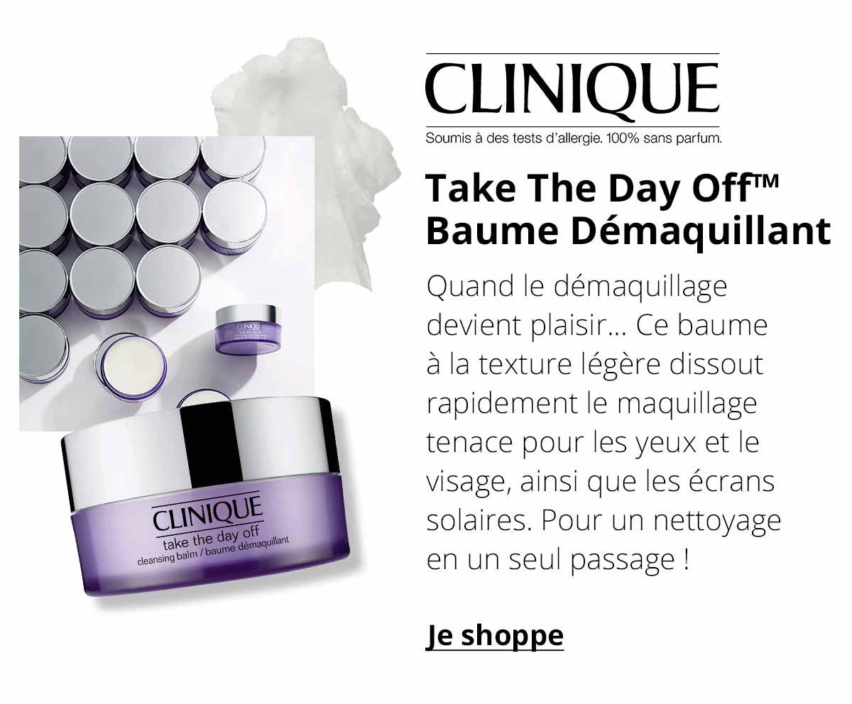 Clinique - Take The Day Off™ Baume Démaquillant - Quand le démaquillage devient plaisir... Ce baume à la texture légère dissout rapidement le maquillage tenace pour les yeux et le visage, ainsi que les écrans solaires. Pour un nettoyage en un seul passage !