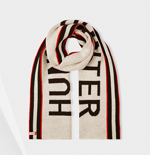 Original Hunter Branded Scarf: Hunter White